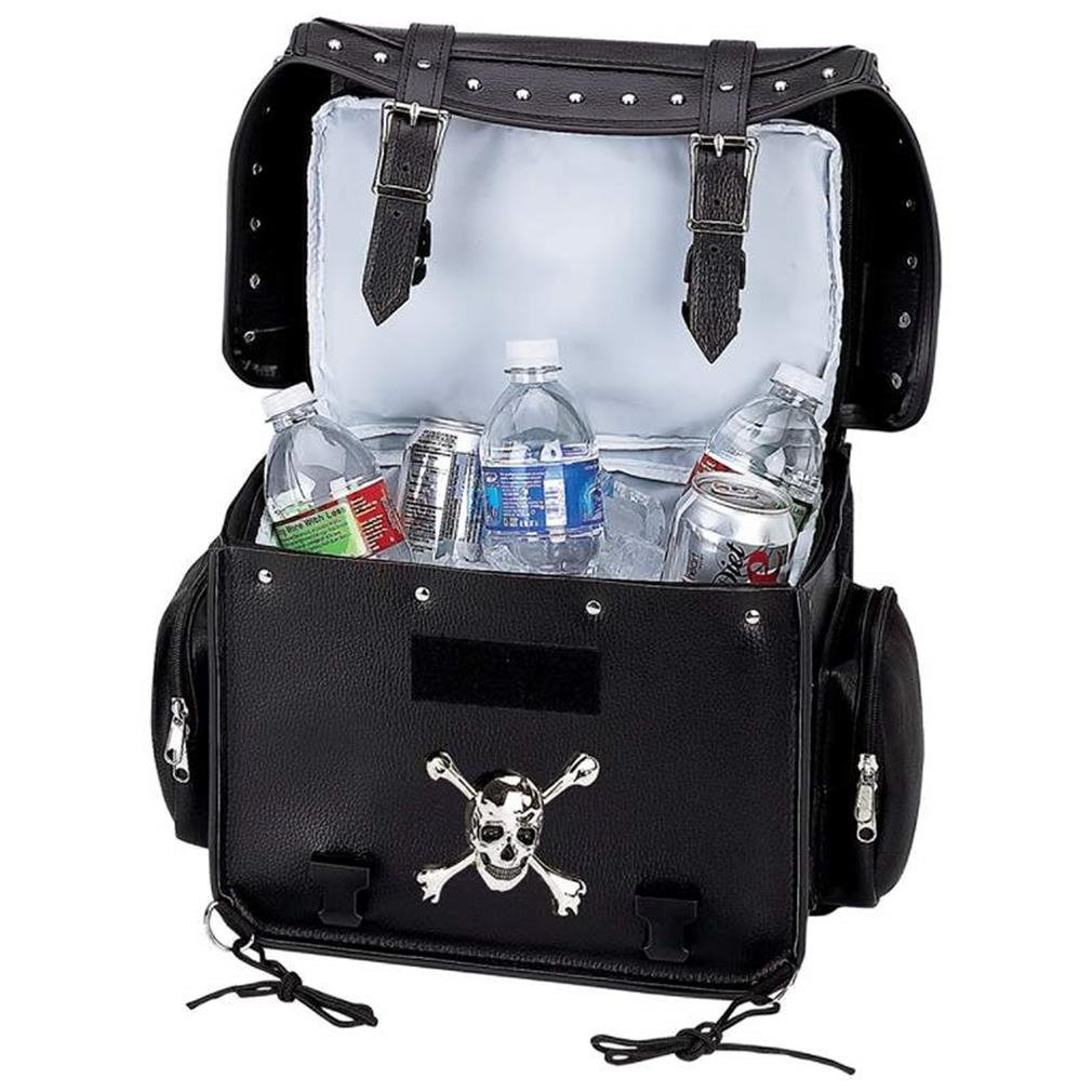 Diamond Plate Motorcycle Trunk Cooler Bag with Skull Medallion