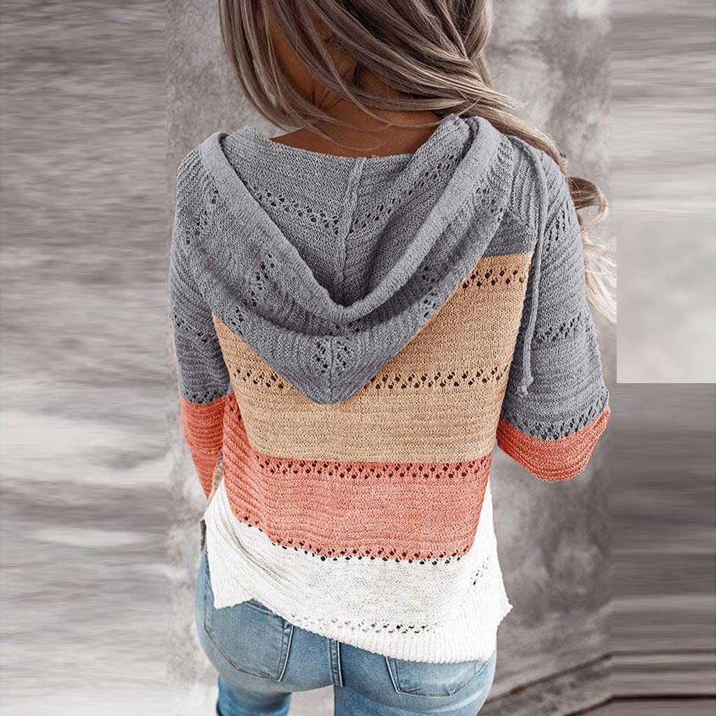 Hollow Out Sweater for Women Casual Long Sleeve Hoodie Pullover Sweatshirts V Neck Striped Drawstring Knitted Blouse