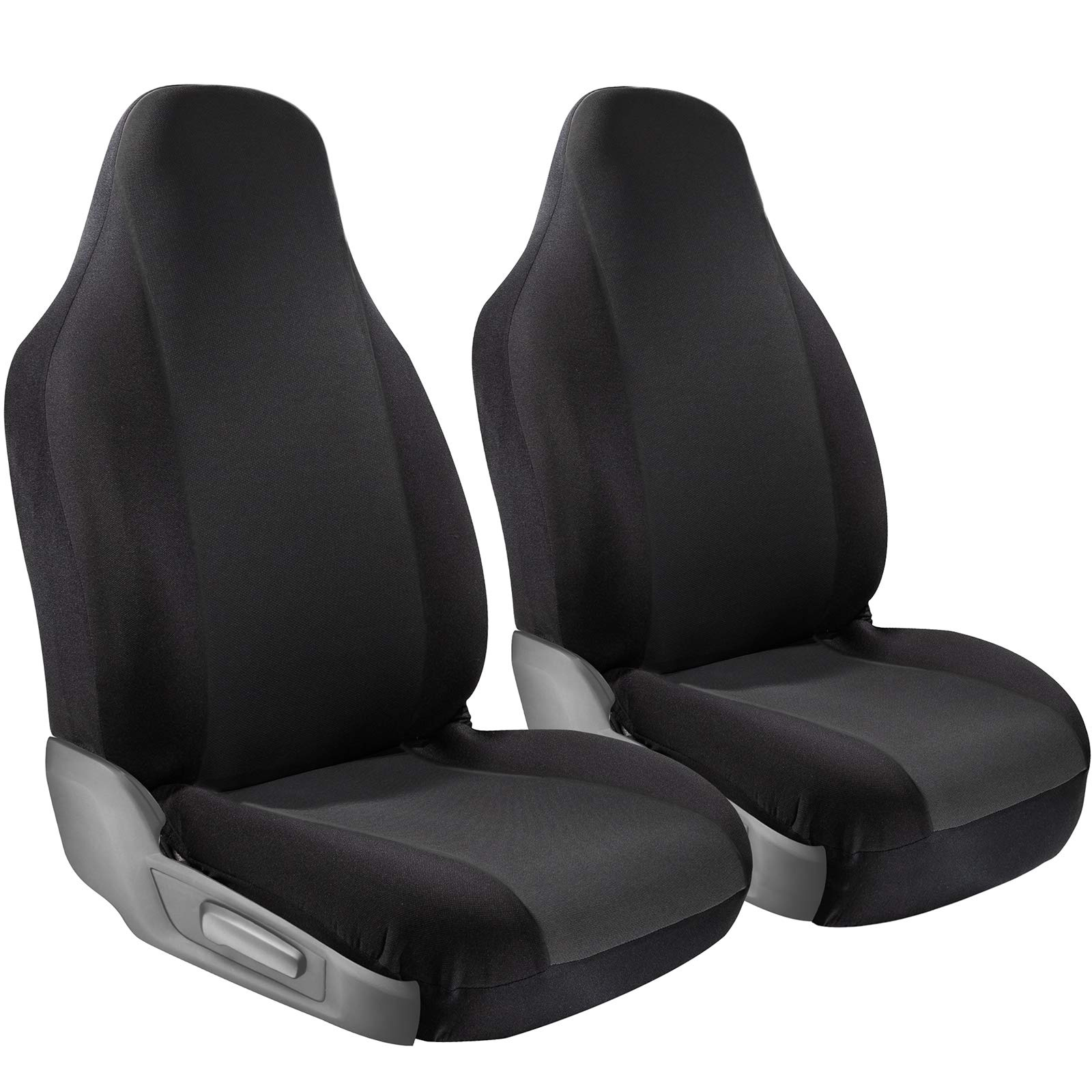 OxGord Car Seat Cover Protectors - Grip Control Non-Slip Poly Cloth with Two-Toned Front Low Bucket Seats Only - Universal Fit for Automotive Vehicles Cars, Trucks, SUVs, Vans -Black 2 Piece Set by OxGord