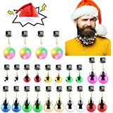 Makone 25pcs Light Up Beard Ornaments for Men, Santa Claus Hat Colorful Sounding Jingle Bells and Lights Beard Bauble Ornamen