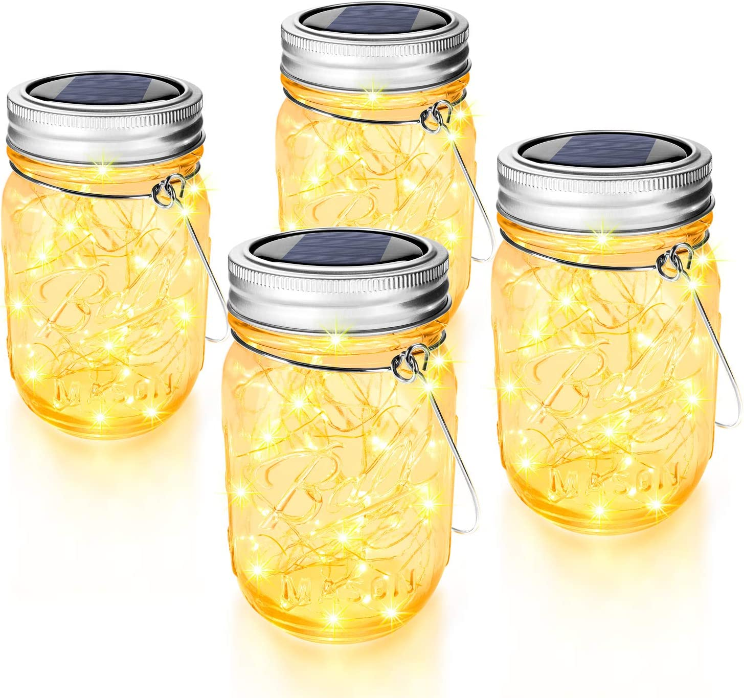 EASTCATO Mason Jar Solar Lights 30 LEDs,6 Pack Hanging Solar Lights Outdoor,Waterproof Solar Lanterns for Patio Party Garden Christmas Decorations Lights Hangers and Jars Included-Warm White