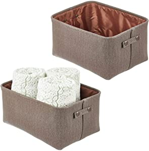 mDesign Soft Cotton Fabric Bathroom Storage Bin with Coated Interior and Handles - Organizer for Towels, Toilet Paper Rolls - for Closets, Cabinets, Shelves - Textured Weave, 2 Pack - Espresso Brown