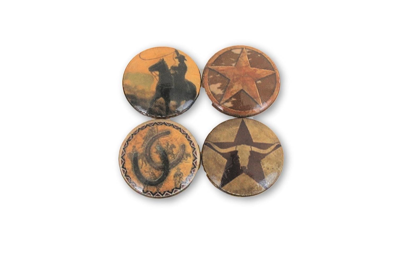 Set of 4 Western Cowboy Print Wood Cabinet Knobs