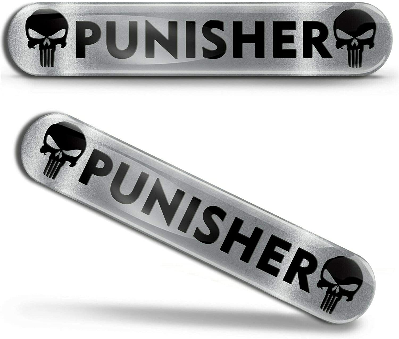 Biomar Labs 2 X Aufkleber 3d Gel Silikon Silber Stickers Punisher Skull Schädel Totenkopf Autoaufkleber Ks 178 Auto