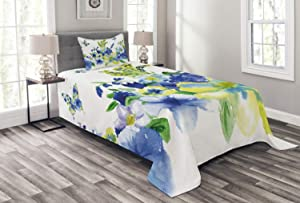 Ambesonne Yellow and Blue Bedspread, Spring Flower Watercolor Flourishing Vibrant Blooms Design, Decorative Quilted 2 Piece Coverlet Set with Pillow Sham, Twin Size, Royal Blue