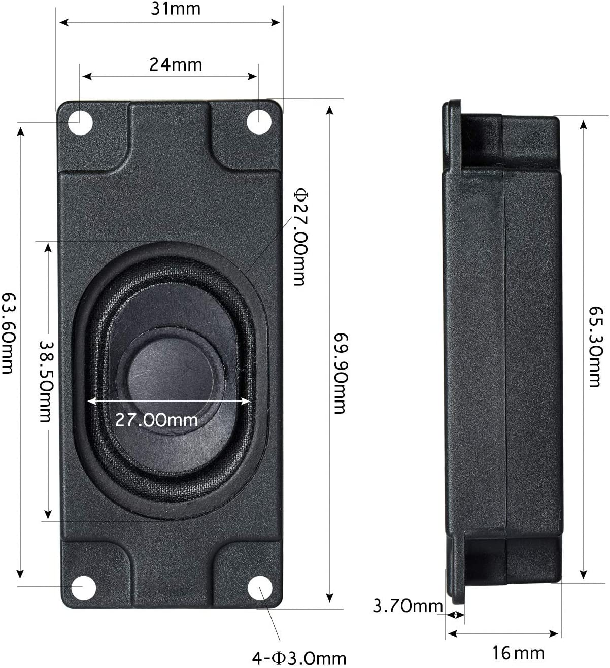 JST-PH2.0 Interface 2 Pieces Passive Small Speaker Suitable for All Kinds of Small Electronic Projects. Rectangular Black Shell 3.0W Maximum Power 8 Ohms Impedance
