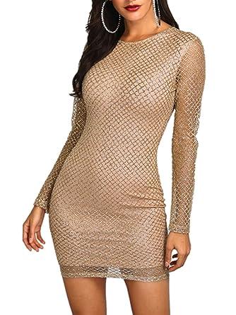 70d7481f3b CHICME BEST SHOPPING DEALS Women Shiny Long Sleeve Bodycon Dress Gold S