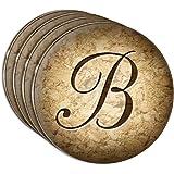 Letter B on Cork Design Acrylic Coaster Set of 4