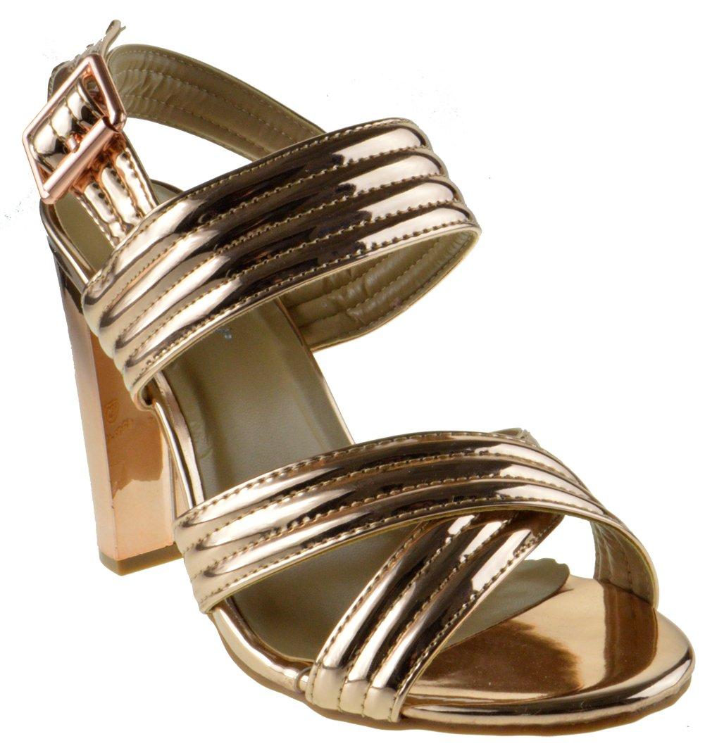 Shine 82 Womens Strappy Metallic Chunky Heel Peep Toe Crossed Sandals Rose Gold 8.5