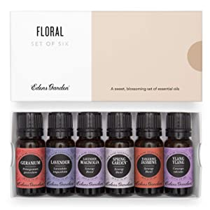 Edens Garden Floral Essential Oil 6 Set, Best 100% Pure Aromatherapy Bouquet Kit (For Diffuser & Therapeutic Use), 10 ml