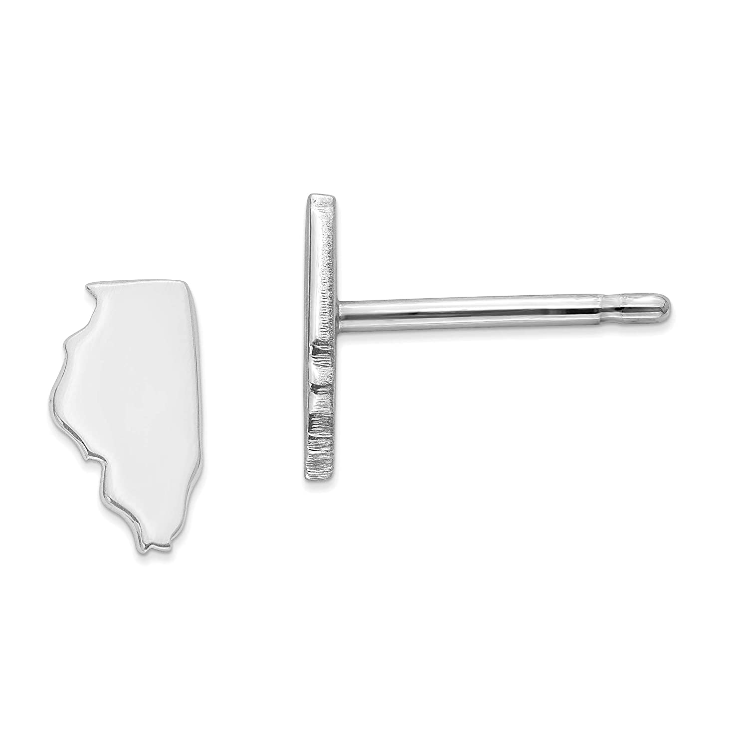 14k White Gold IL Small State Earring Travel