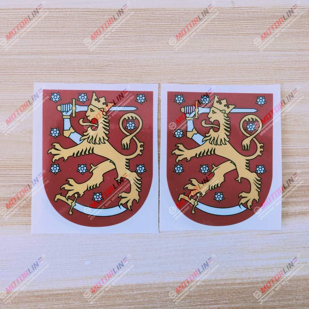 3S MOTORLINE 2X Reflective 4 Coat of arms of Finland Finnish Decal Sticker Car Vinyl