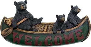 Black Bear Decorations for Home - Welcome Bears in Canoe Wall Plaque Home Decor Bear - Cabin Wall Hanging Welcome Bear Sign Wildlife Decor for Home - Bear Pictures Wall Art Mama Bear Sign