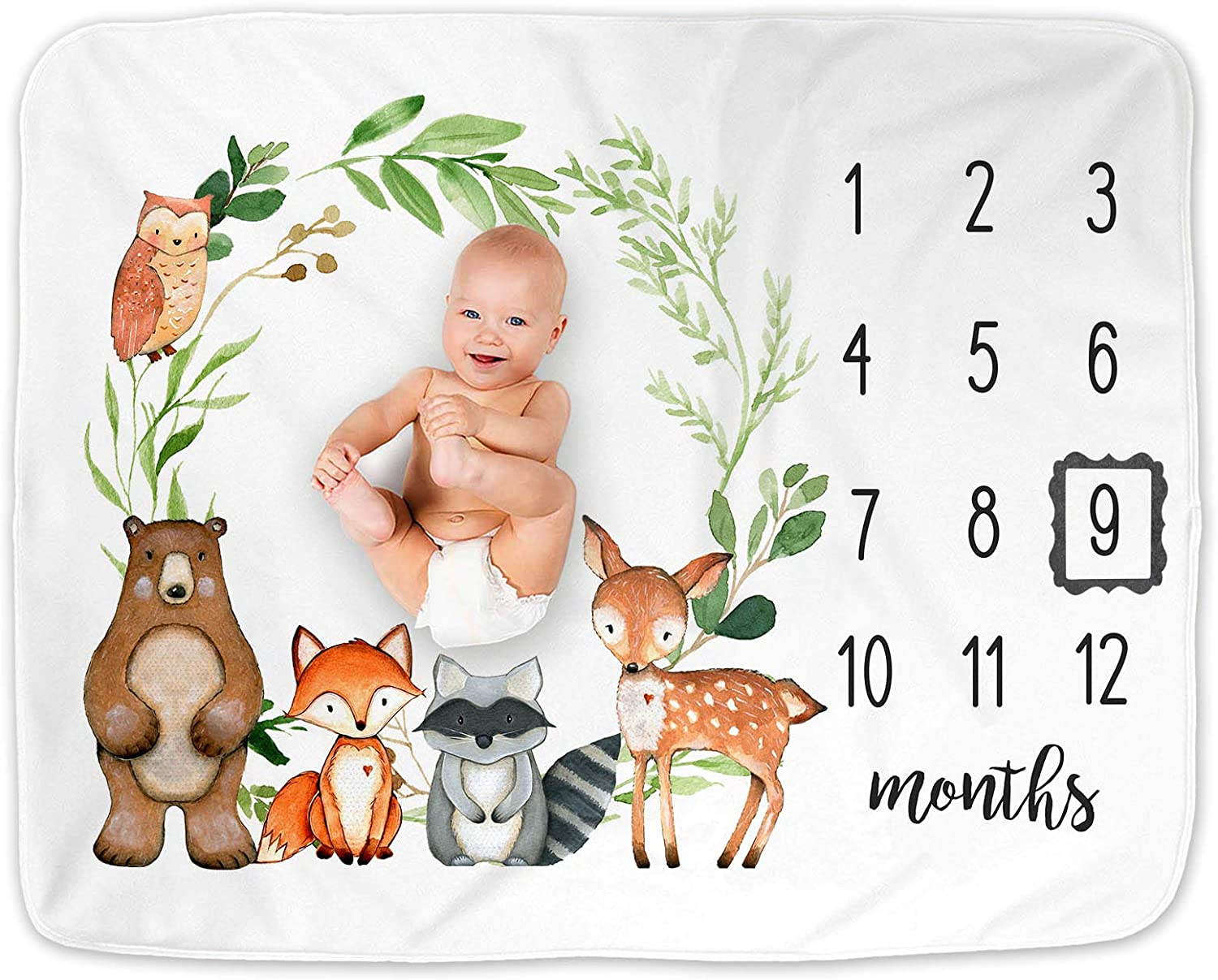 Woodland Baby Monthly Milestone Blanket, Woodland Animals Baby Growth Chart Monthly Blanket, Woodland Forest Nursery Decor, Includes Marker (50