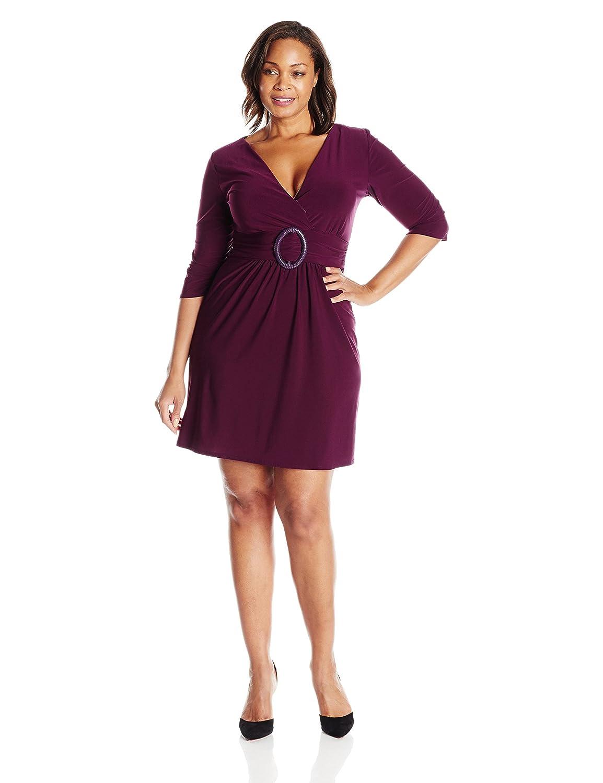 Star Vixen Womens Plus-Size Three-Quarter Sleeve Buckle-Detail Dress