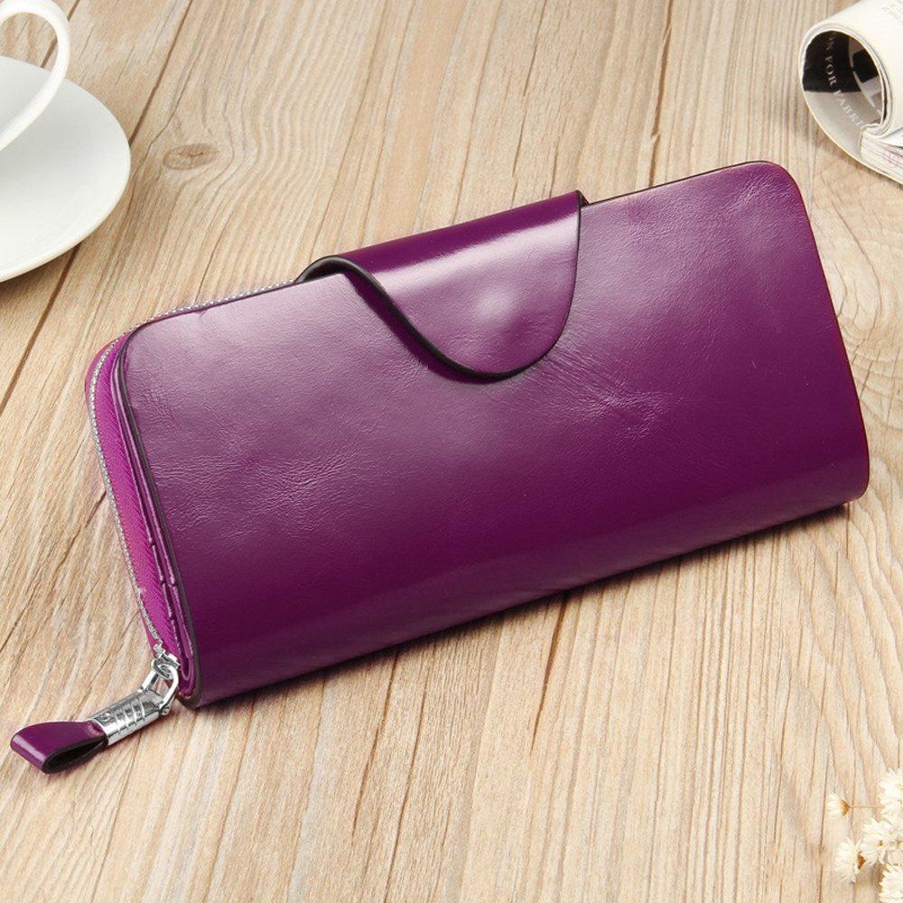 YALUXE Women's RFID Blocking Large Tri-fold Leather Wallet Ladies Luxury Zipper Clutch Fuchsia by YALUXE (Image #3)