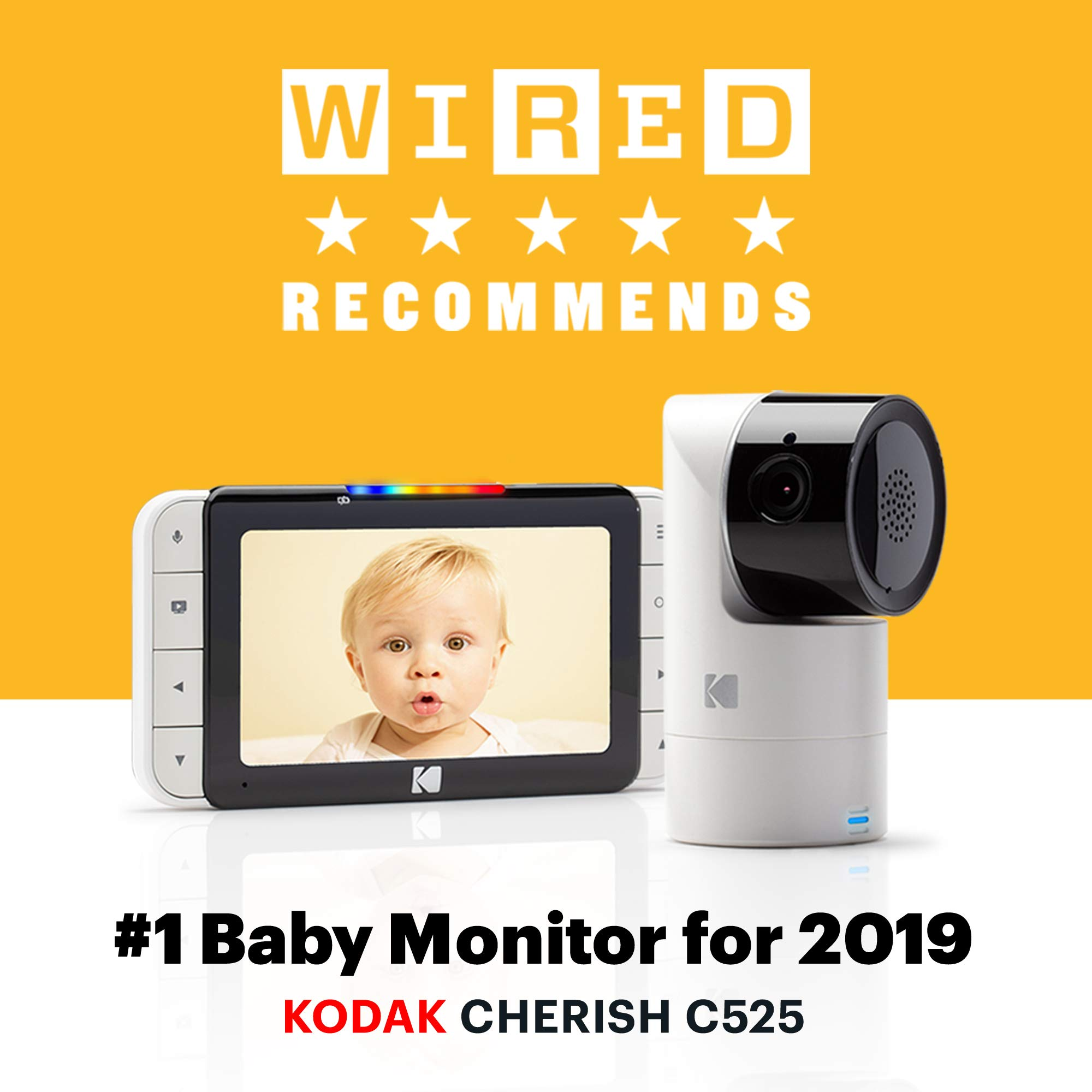 KODAK Cherish C525 Video Baby Monitor + C125 Additional Camera - with Mobile App - 5'' HD Screen - Hi-res Baby Camera with Remote Tilt, Pan and Zoom Two-Way Audio, Night-Vision, Long Range by Kodak (Image #2)