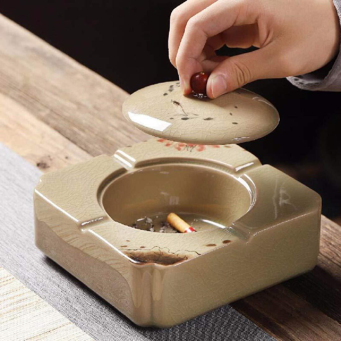 ZPSPZ cenicero Multifunction de cerámica Pintada a Tapa Mano cenicero con Tapa a para el hogar Oficina d419ae