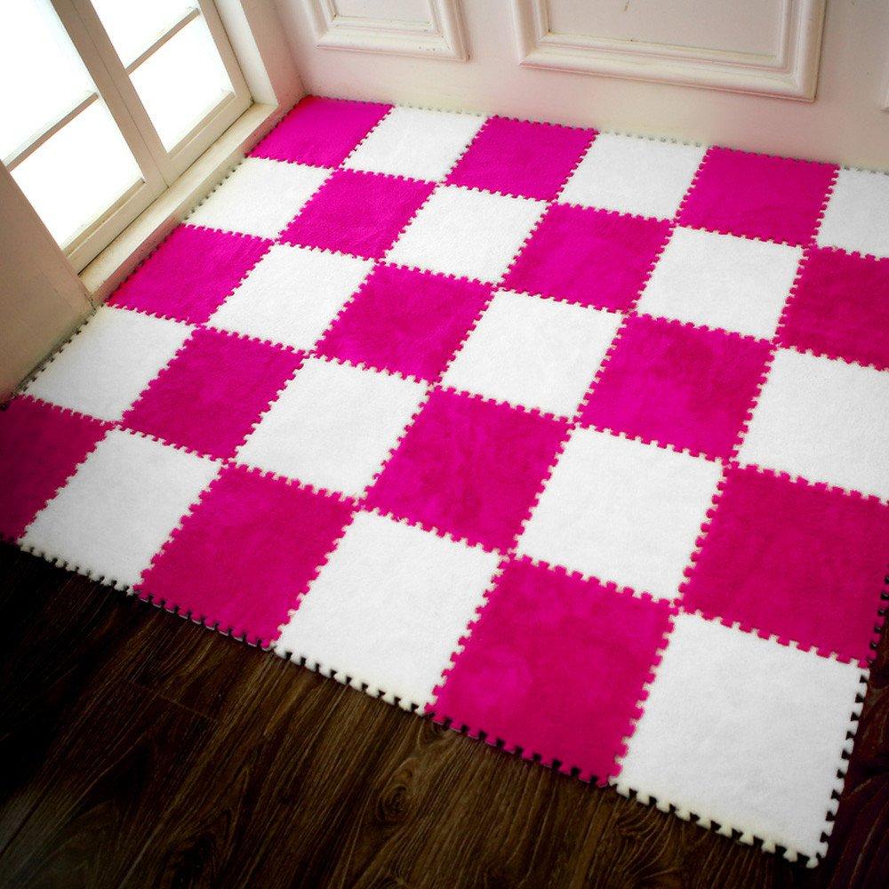 COLORFUL Kinder Teppich Puzzle Matte EVA Shaggy Samt Baby Eco Boden Puzzlematte Spielmatte Beige, 25*25cm