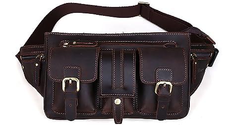 Tiding para hombre riñonera Cintura Cartera de piel auténtica bolso de la bolsa para senderismo