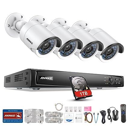 [PoE 4.0MP] ANNKE Kit de Seguridad 8CH 6MP NVR CCTV y 4 Cámaras Metal 4MP de vigilancia (IR-Cut Visión Nocturna Plug y Play Detección de Movimiento ...
