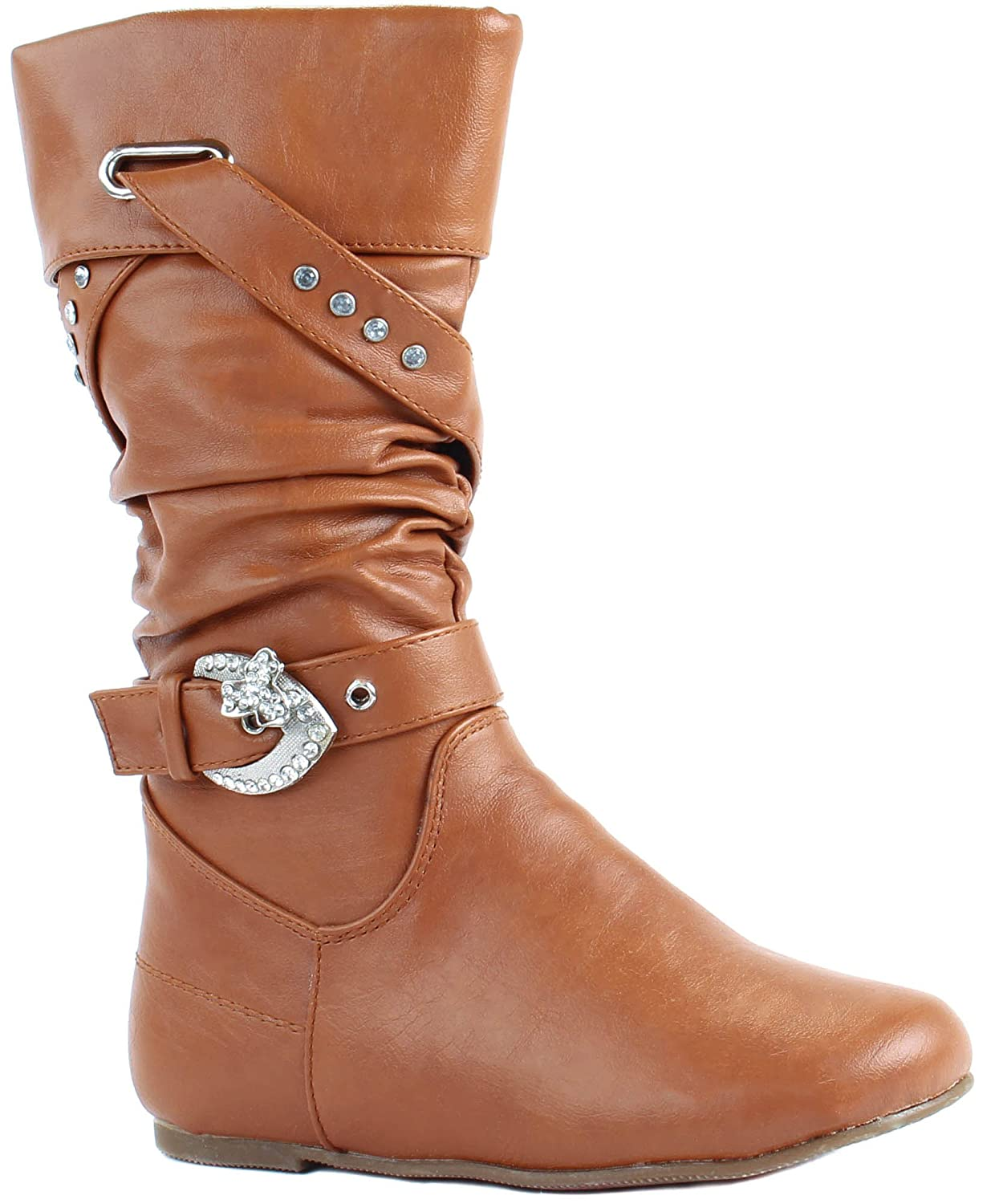 Lucky Top Little Girls Data-62K Faux Leather Flat Boots with Decorative Crossed Straps with Rhinestones