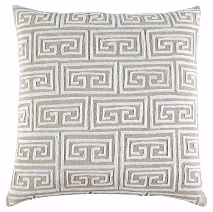 Ashley Furniture Signature Design   Paloman Greek Key Decorative Throw  Pillow Cover   Comfortable Cotton