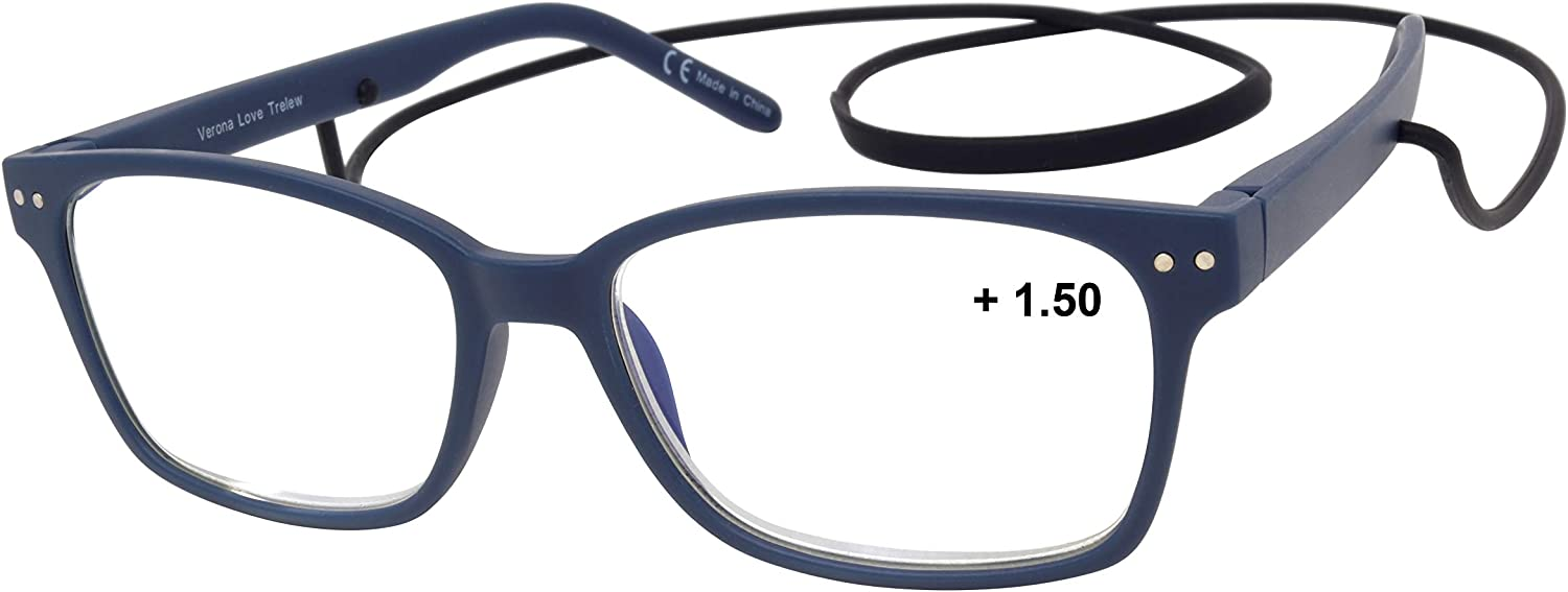 Trelew Computer Screen Reading Glasses, Blue Light Protector Glasses with Magnifying Lenses for Men and Women Blue (+1.50)
