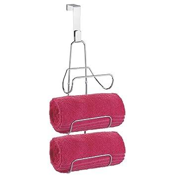 mDesign Toallero colgante sin tornillos - Organizador para 3 toallones - Porta toallas de baño para pared o puerta: Amazon.es: Hogar