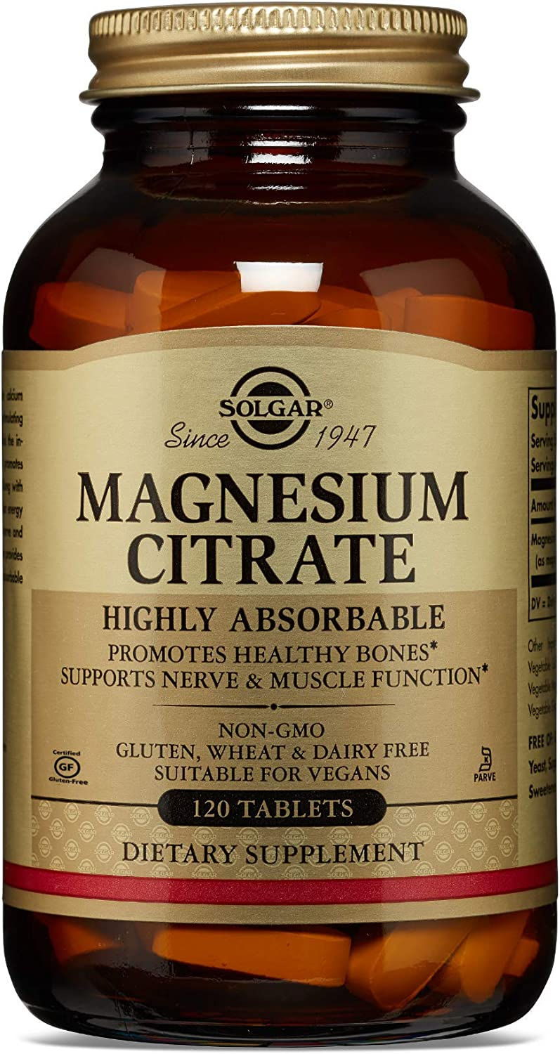 Solgar Magnesium Citrate, 120 Tablets - Promotes Healthy Bones - Supports Nerve & Muscle Function - Non GMO, Vegan, Gluten Free, Dairy Free, Kosher