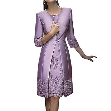 Dressvip 2 pièces de longueur à genoux en dentelle satiné femmes robes de  bal avec une f4f81364a2c3