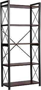 Lavievert 5 Tier Bookshelf Vintage Bookcase Shelf Organizer Rustic Wood and Metal Storage Rack for Home, Office, Garage, Kitchen, Living Room