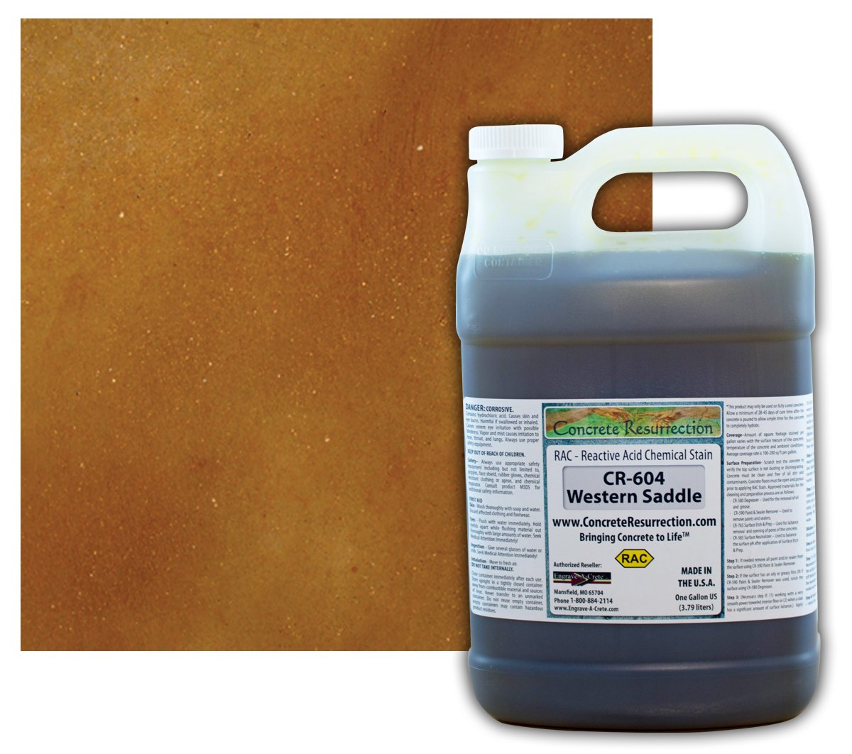 Concrete Stain Professional Easy to Use Acid Stain - Western Saddle (Brown w/Copper Undertones)- 1 Gallon Concrete Resurrection