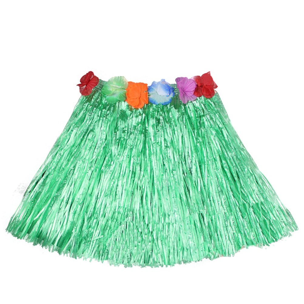 Luau Beach Party Halloween Costume Party Hawaiian Dance Hula Skirt Grass Skirt, Green(pack of 3)