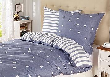 Bettwasche Kinder 135x200 Baumwolle Sterne Reissverschluss 2 Teilig