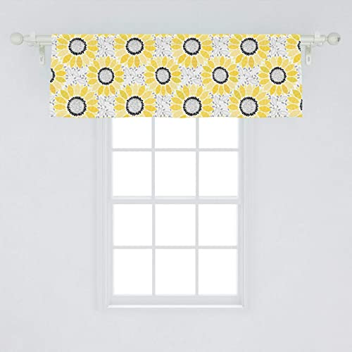 Lunarable Sunflower Window Valance, Abstract Shapes Floral Pattern Stripe Petals Summer Blossom Illustration, Curtain Valance for Kitchen Bedroom Decor with Rod Pocket, 54 X 18 , Yellow Black Grey