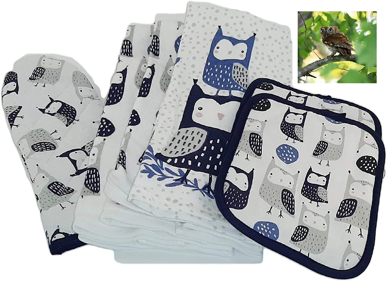 Blue Owl Kitchen Towel Set- 3 Dish Towels,2 Pot Holders, Oven Mitt and Magnet
