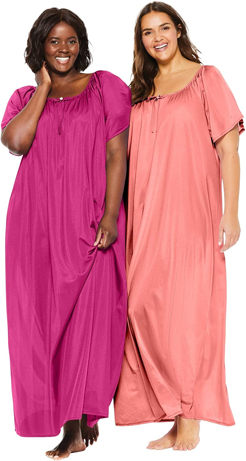 Only Necessities Womens Plus Size 2-Pack Long Silky Gown