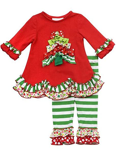 409fd3a4e9d7 Girls Christmas Outfit - Ruffle Tree Ribbon Christmas Tree Tunic Size (6  Months with Bracelet