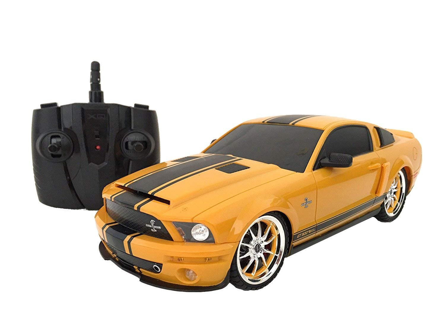Amazon com officially licensed electric full function 118 ford mustang shelby gt500 super snake rtr rc car colors may vary toys games
