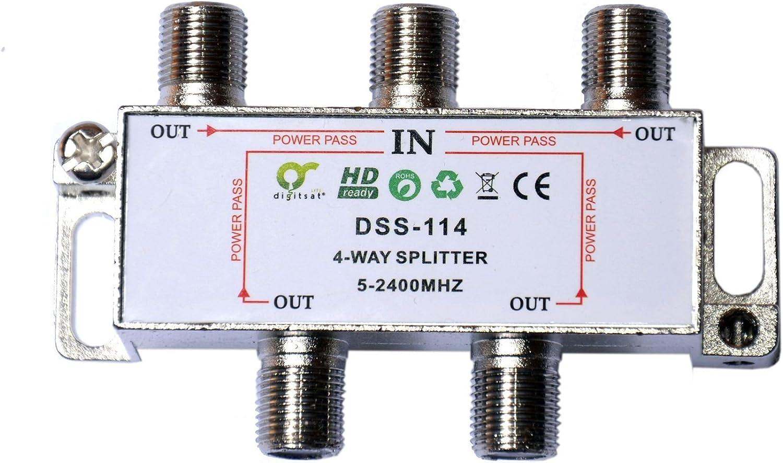 Splitter Distribuidor Sat Cable Antena de TV BK de DIGISAT 4 ...