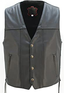 "product image for The Invader Leather Vest (Chest:50"" Length: Regular) Black"