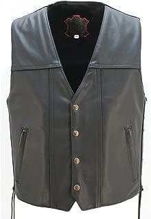 "product image for The Invader Leather Vest (Chest:50"" Length: Regular) Black"