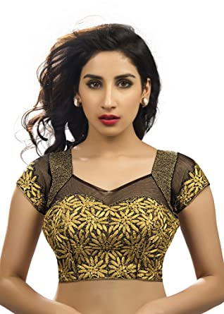 Bollywood Blouses Women s Designer Fancy Gold Saree Blouse Medium Black