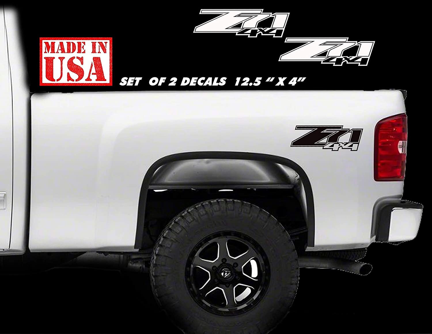 Amazon com chevy z71 4x4 2007 2013 decals silverado gmc sierra truck vinyl sticker pair logo handmade