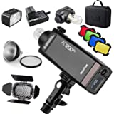 GODOX AD200Pro AD200 Pro with BD-07 Barn Door Honeycomb Grid 4 Color Filter Kit, Standard Reflector with Soft Diffuser…