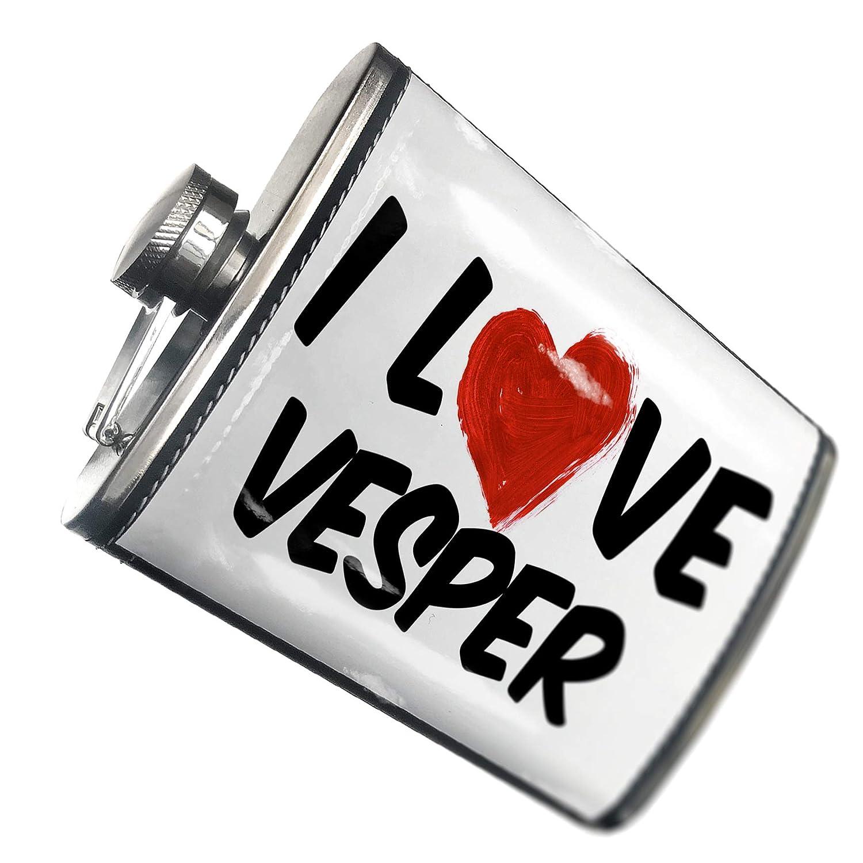 8オンスフラスコステッチI Love Vesperカクテルステンレススチール – Neonblond   B00QQVFU5C