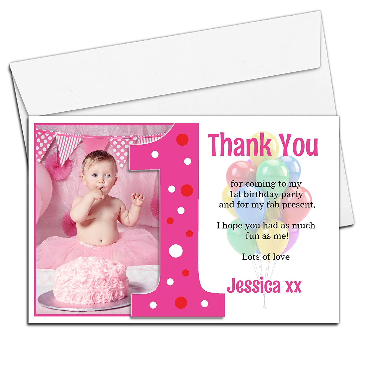 10 Personalised Girls First 1st Birthday Party Thank You PHOTO Cards N192 Amazoncouk Office Products