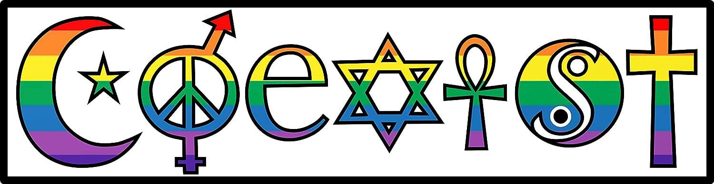 Coexist Harmony Rainbow Sticker - Inclusive Premium Vinyl Decal | For Car Bumper Window Laptop Bottle Hydro-Flask + Celebrate Gay Pride LGBTQ+ Peace Love Star Cross Religion Yin-Yang Sign 6.8 x 2 inch