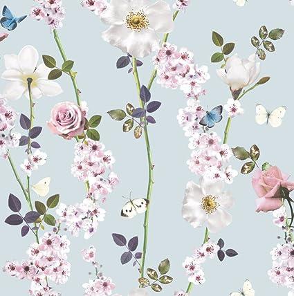Papier Peint A Motif Floral Avec Des Fleurs Papillons Feuilles